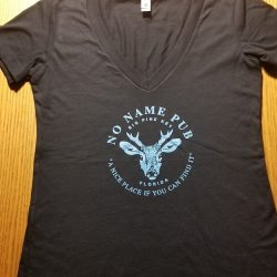 No Name Pub Black V Neck with Blue Logo